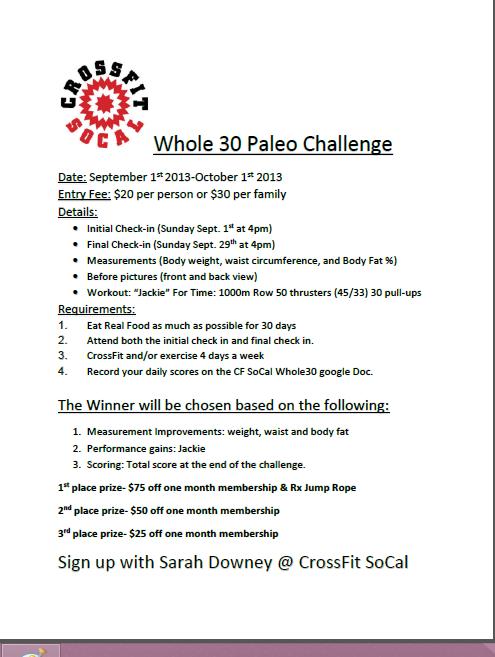 whole 30 paleo challenge