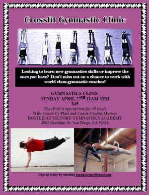 GYMNASTICS CLINIC APRIL